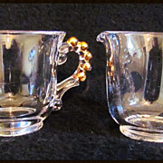 Elegant Imperial Glass Gold Candlewick Cream & Sugar Set