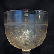 EAPG Central Glass Co. Oak Leaf Band Buttermilk Goblet  Oak Wreath 1875