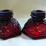 Vintage Avon Glass Ruby Red Cape Cod Low Candlesticks