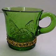 EAPG US Glass Green & Gold Lacy Medallion Jewel Cup Marked 1911