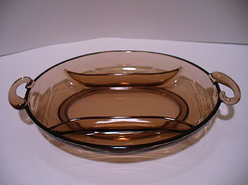 Elegant Fostoria Glass Horizon #2650 3 Part Serving Dish Cinnamon Color 1951-54