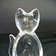 French Art Glass Art Vannes France Lead Glass Cat Dish by Auguste Houillon 1950's