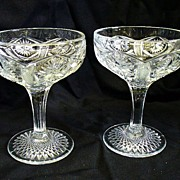 2 Millersburg Glass Ohio Star Glasses 1909 Early American Pattern Glass