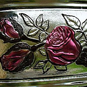 EAPG Vintage Glass Intaglio Rose Flower Goofus Glass Dresser Dish Gorgeous!
