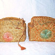 2 Vintage Chinese Handmade Woven Bags or Baskets Died Straw