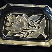 Crystal Glass Intaglio Frieze w/ Roses Ashtray Dish