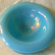 Vintage Northwood Glass Rainbow Opaque Jade Blue Bowl 1923