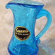 Vintage Kanawha Glass Blue Crackle Glass Mini Pitcher w/Sticker