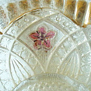 Indiana Glass Flower Medallion #158 1932 Berry Bowl Gold & Ruby Stain