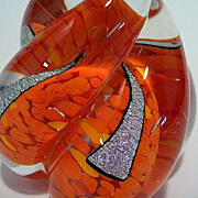 C. Walters Spiral Snail Shell Paperweight Confetti Orange Cased Glass
