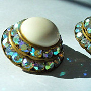 Pair Vintage Clip on Earrings Aurora Borealis Rhinestones & Ivory Stone