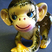 Vintage Porcelain Little Baby Monkey Figurine Marked 1959