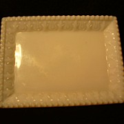Vintage Eagle Glass Co. Opalescent Victorian Milk Glass Pin Dish 1897