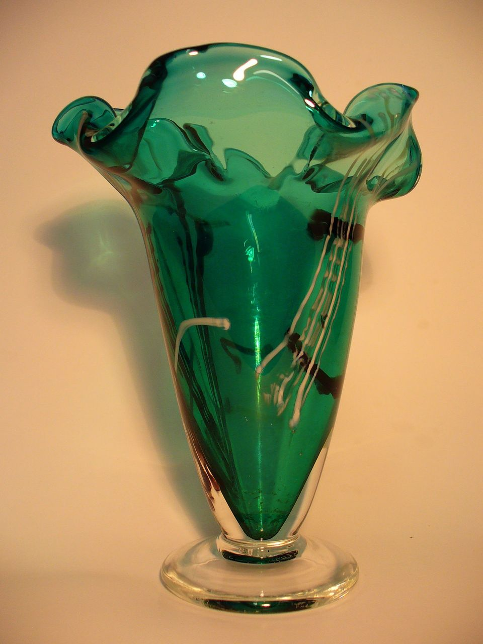 Unique Modern Cased Art Glass Vase Signed by Artist 1986