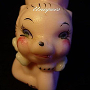 Pair Vintage Soft Pink Kitty Cat Salt & Pepper Shakers Adorable!