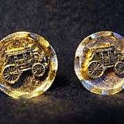Pair Gold Tone Western Stage Coach Cufflinks Cowboy