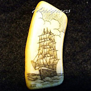 Carved Alaskan Ivory Sailing Ship Scrimshaw Pendant Signed By Artist