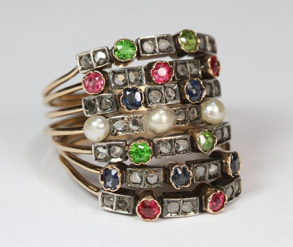 antique 18k gold gemstone harem ring from