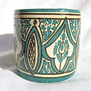 SALE Vintage Moroccan Safi Ceramic Pottery Cup or Bowl Signed by Artist