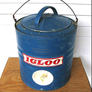 SALE Vintage Blue Galvanized Metal Igloo Water Cooler 2 Gallon