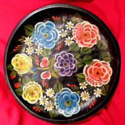 Vintage Mexican Folk Art Batea Floral Tole Wood Tray Platter 15&quot;