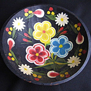 Vintage Mexican Folk Art Batea Floral Tole Wood Bowl 9.5&quot;