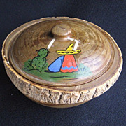 Vintage Folk Art Mexican Wood Bowl with Lid