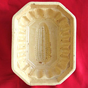 Vintage Octagonal Yellowware Stoneware Ear of Corn Mold