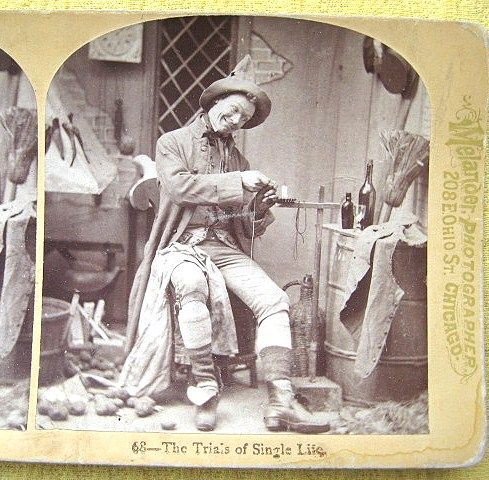 1876 &quot;Trials of Single Life&quot; Humorous Stereoscopic Card by Melander