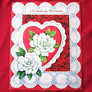 Vintage Large Valentine with Hearts and Gardenias for Mother