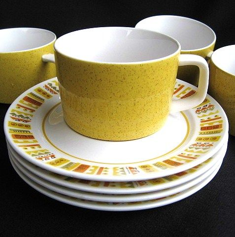 4 Mid-Century Modern 1960s Mikasa Mediterrania Cups & Saucers Empire Gold Sunda