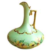 Painted Austrian Porcelain Gild Decorated Ewer Pitcher / Vase c. 1900