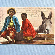 Black Americana Postcard One Jack and Two Black 1906 Undivided Back