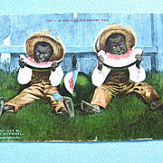 SALE 1907 Black Americana Postcard Watermelon Eaters Edward H. Mitchell