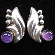 SALE 1930s Mexican Deco Silver & Amethyst Earrings