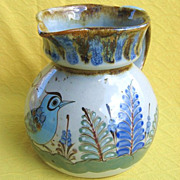 Vintage Ken Edwards Tonala Mexico Blue Bird Large Pottery Pitcher
