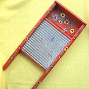 Vintage Folk Art Badger Woodenware Co. Washboard No. W101