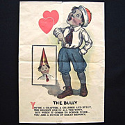The Bully as Dunce Vintage Lithograph Paper Valentine