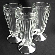 Three Vintage Ribbed Soda Fountain Malt Glasses