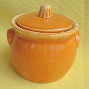 1960s Hull Tangerine Orange Drip Sugar Bowl & Lid Oven-Proof USA