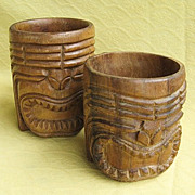 Two Vintage Wooden Carved Hawaiian / Polynesian Tiki Mugs