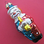 Vintage Glass Clown Christmas Ornament --Musician with Horn