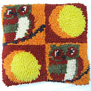 1970s Sofa Pillow with Hoot Owl and Moon Design