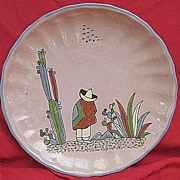SALE Tlaquepaque Pottery Plate from Jalisco State Mexico 1940s