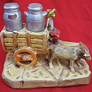 SALE Vintage Chalkware Milk Truck with Chalk Milkcan Salt & Pepper Shakers 1936 S&P