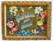 "Early 1900s Floral ""God Bless Our Home"" in Gold Gilt Rococo Style Wood Frame"