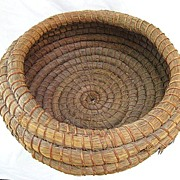 Southeast American Indian Coiled Pine Needle Basket 16 Inch Diameter