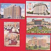 SALE Lot of 5 San Antonio Texas Linen Postcard 1930s - 1940s