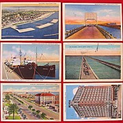 SALE Lot of Six Linen Corpus Christi Texas Postcards 1930s 1940s