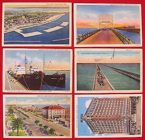 Lot of Six Linen Corpus Christi Texas Postcards 1930s 1940s